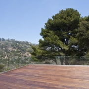 The rooftop deck has views out to the outdoor structure, plant, property, real estate, roof, sky, tree, wood, teal, gray