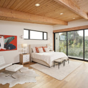 Wood ceilings are certainly different – but they architecture, bed frame, bedroom, ceiling, daylighting, floor, flooring, hardwood, home, house, interior design, laminate flooring, living room, real estate, room, wall, window, wood, wood flooring, gray