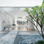 A view of the courtyard architecture, home, house, interior design, real estate, gray