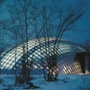 Forestry Branch – Marche-en-Famenne architecture, biome, building, dome, freezing, sky, snow, structure, tree, winter, teal, black, blue