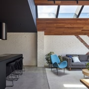 Skylights flood the lounge with light architecture, daylighting, house, interior design, living room, loft, property, real estate, roof, gray, black
