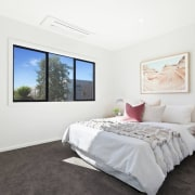 A fairly standard bedroom, with plenty of natural bed frame, bedroom, ceiling, floor, home, interior design, property, real estate, room, white