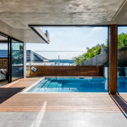 From sea to shining sea architecture, daylighting, estate, floor, home, house, interior design, leisure, leisure centre, property, real estate, swimming pool, wood, gray