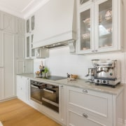 You can get a real sense of the cabinetry, countertop, cuisine classique, floor, home, home appliance, interior design, kitchen, room, gray