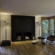 This combination fireplace/firewood storage area draws the eye architecture, ceiling, floor, flooring, hardwood, house, interior design, laminate flooring, living room, property, real estate, room, window, wood, wood flooring, brown, gray