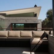 There's plenty of space for outdoor lounging architecture, furniture, house, window, black