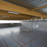 569 firestation architecture, ceiling, daylighting, floor, leisure centre, line, roof, sport venue, structure, gray, brown
