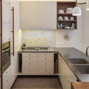 TIDA NZ 2017 – Designer kitchen entrant – cabinetry, countertop, cuisine classique, floor, interior design, kitchen, real estate, room, sink, gray, brown