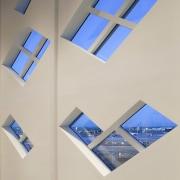 Tetris-like windows line the interior angle, ceiling, daylighting, lighting, product design, gray