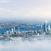 Sydney in 2050 city, cityscape, daytime, metropolis, metropolitan area, sky, skyline, water, white