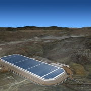 A concept render for the finished Gigafactory energy, sky, solar power, technology, water, water resources, black