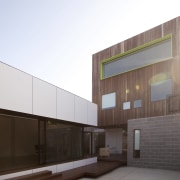 A single window runs across the upper storey architecture, building, commercial building, daylighting, elevation, facade, house, residential area, white, black