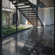 Colima home/Di Frenna Arquitectos architecture, building, daylighting, floor, glass, handrail, house, interior design, reflection, stairs, black, gray