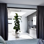 This substantial  plant in the master ensuite curtain, home, interior design, room, window, window covering, window treatment, black, gray, white