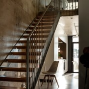 The Tervahovi Silos / PAVE Architects architecture, daylighting, handrail, house, interior design, stairs, wall, wood, brown