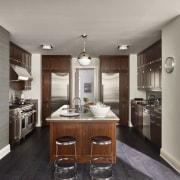 Jon Bon Jovi's new apartment in NYC – cabinetry, countertop, cuisine classique, interior design, kitchen, room, gray, black