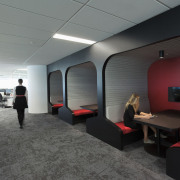 Sculptural conversation booths are just one of many architecture, ceiling, interior design, office, gray, black