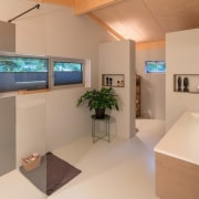 This bathroom has a large walk-in shower interior design, product design, real estate, room, orange