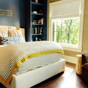 A bedroom tailored to the occupant bed, bed frame, bed sheet, bedding, bedroom, furniture, home, interior design, mattress, room, window, window covering, wood