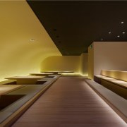The simplicity of this space means the simplicity architecture, ceiling, daylighting, interior design, light, lighting, product design, brown