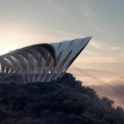 A ZHA cable car project architecture, cloud, morning, sky, sunlight, black, gray