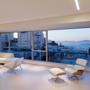 Looking out to Alcatraz in the evening apartment, architecture, ceiling, condominium, daylighting, estate, floor, home, house, interior design, living room, penthouse apartment, property, real estate, window, gray