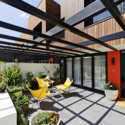 These private outdoor areas have space for dining courtyard, outdoor structure, pergola, property, real estate, roof, black