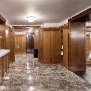 Jon Bon Jovi's new apartment in NYC – cabinetry, ceiling, countertop, floor, flooring, interior design, kitchen, lobby, gray, brown