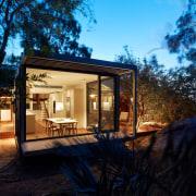 Life on MAARS architecture, backyard, cottage, estate, facade, home, house, landscape, lighting, property, real estate, siding, villa, black