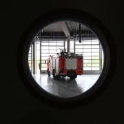 569 firestation window, black