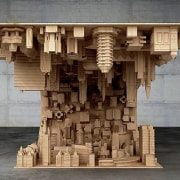 The wave city coffee table ancient history, archaeological site, carving, column, sculpture, structure, temple, tourist attraction, wood, gray