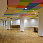 This new headquarters for the European Union Council architecture, ceiling, daylighting, floor, flooring, function hall, hardwood, interior design, laminate flooring, lobby, structure, wood, wood flooring, brown