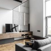 Architect: MetaformaPhotography by Krzysztof Strażyński floor, furniture, interior design, living room, product design, table, wall, white, gray