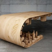 The wave city coffee table furniture, product design, table, wood, gray, black