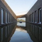 569 firestation architecture, building, daylighting, home, house, reflection, water, window, black