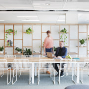 The cafe in the ADCO Constructions fit-out by chair, daylighting, furniture, home, interior design, table, white