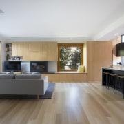 It's an ideal home for entertaining architecture, floor, flooring, hardwood, house, interior design, kitchen, laminate flooring, living room, room, wood, wood flooring, gray