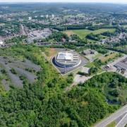 569 firestation aerial photography, bird's eye view, city, land lot, suburb, green