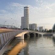 Jubilee Bridge – Cox Architecture bridge, building, city, cityscape, condominium, daytime, downtown, fixed link, metropolis, metropolitan area, sky, skyline, skyscraper, skyway, tower block, urban area, gray