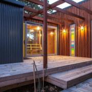 Let's chat slats deck, house, real estate, shed, siding, wood, red, blue