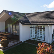 Showhome Taranaki cottage, facade, home, house, property, real estate, roof, shed, black, white