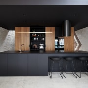 There's no shortage of storage space cabinetry, countertop, cuisine classique, furniture, interior design, kitchen, product design, table, black, gray