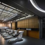 H Academy – Shi-Chieh Lu/CJ Studio architecture, ceiling, interior design, lobby, black, gray