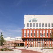 Zaans Medical Centre – Mecanoo architecture, building, city, commercial building, corporate headquarters, daytime, facade, headquarters, landmark, metropolitan area, mixed use, real estate, sky, blue