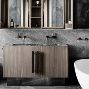 Clever lighting design means the bathroom retains a bathroom, bathroom accessory, bathroom cabinet, cabinetry, countertop, floor, flooring, interior design, product design, sink, tile, wall, gray, black
