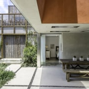 This cavernous volume brings light down into the architecture, daylighting, house, gray