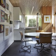 An office-like dining area sits off to the architecture, ceiling, chair, daylighting, floor, flooring, furniture, house, interior design, living room, lobby, table, wall, gray, black
