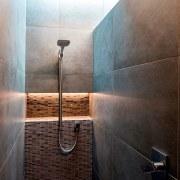 Registered Master Builders – House of the Year architecture, bathroom, ceiling, daylighting, floor, flooring, light, lighting, room, tile, wall, wood, brown