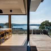 Views out to the harbour apartment, deck, estate, house, outdoor structure, property, real estate, gray