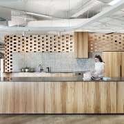 The cafe in the ADCO Constructions fit-out by ceiling, countertop, floor, flooring, interior design, kitchen, wall, gray